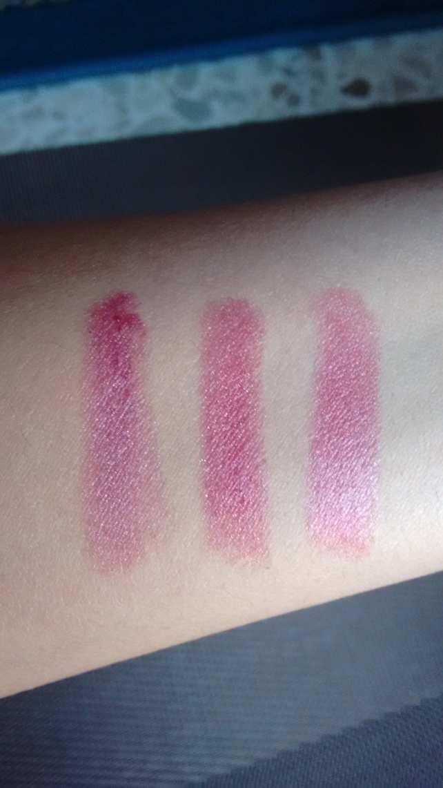 Swatches from left to right: Iced Amethyst, Ruby Star, Wine with everything